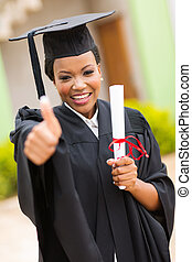 Tumme, Uppe, akademiker, amerikan, kvinnlig, afrikansk