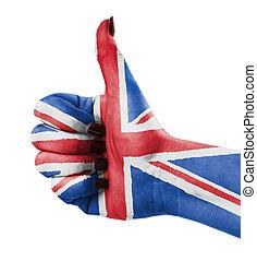 tumme uppe, för, storbritannien