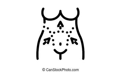tummy tuck Icon Animation. black tummy tuck animated icon on white background