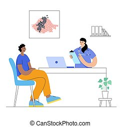 Vector isolated illustration of malignant tumor in healthy tissue. Doctors appointment in medical office or in laboratory. Patient in clinic. Spreading of cancer cells, tumor development concept.