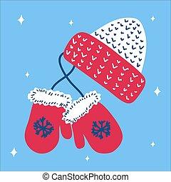 tumvante, blå, skandinav, jul hatt, bakgrund., stil, media, social, illustration, tumvante, suitable, snöflingor, vektor, traditionell, fyrkant, hand, oavgjord, format., rosa