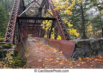 tumwater, 橋, path., 峡谷