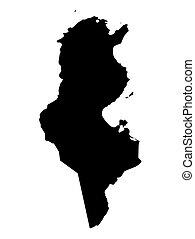 tunézia, térkép, fekete