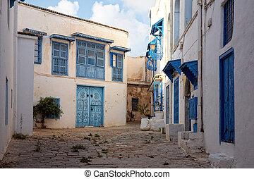 tunísia, bou, sidi, rua, tunis, dito, lado