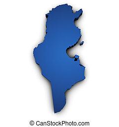 tunísia, mapa, forma, 3d