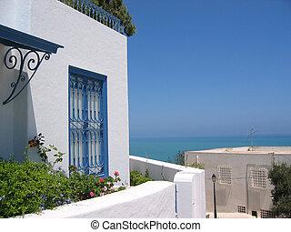 tunísia, panorâmico, bou, um, sidi, dito, vista