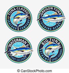 tuna., étiquettes, emblèmes, peche, conception, ...