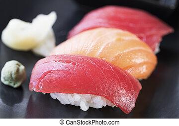 Tuna and Salmon Nigiri Rolls