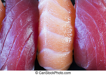 Tuna and Salmon Sushi Close Up