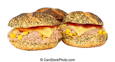 Tuna and sweetcorn cheese melt sandwiches in poppy seed ...