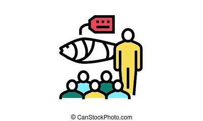 tuna auction market animated color icon. tuna auction market sign. isolated on white background