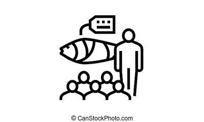 tuna auction market animated black icon. tuna auction market sign. isolated on white background