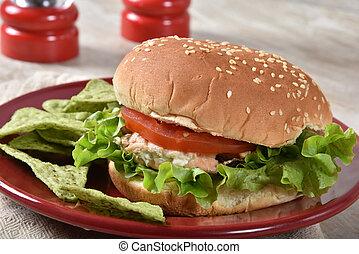 Tuna Burger on a Sesame Seed Bun