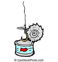 tuna can and fish hook cartoon