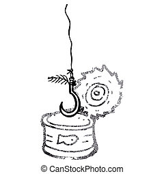 tuna can and fish hook cartoon