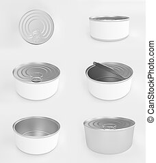 Different angles of open and closed tuna cans