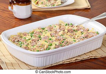 Tuna casserole meal in a serving dish