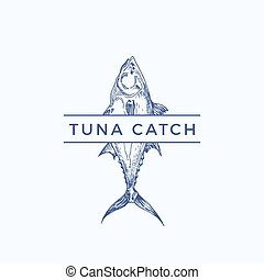 Tuna Catch Abstract Vector Sign, Symbol or Logo Template....