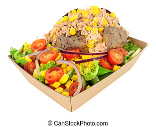 Tuna Fish And Sweetcorn Filled Baked Potato