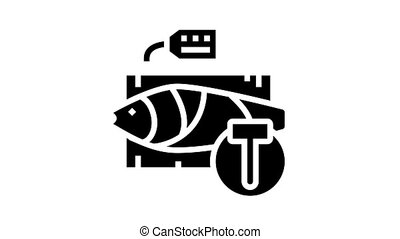 tuna fish auction rate animated glyph icon. tuna fish auction rate sign. isolated on white background