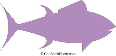 Tuna fish cartoon animals flat vector silhouette.