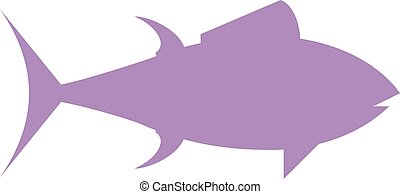 Tuna fish cartoon animals flat vector silhouette.