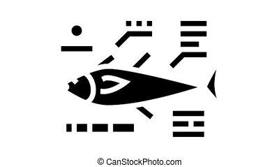 tuna fish characteristics animated glyph icon. tuna fish characteristics sign. isolated on white background