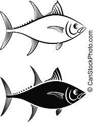 tuna fish - clip art illustration and line art