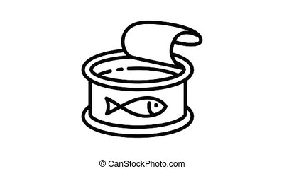 Tuna fish icon animation outline best object on white background