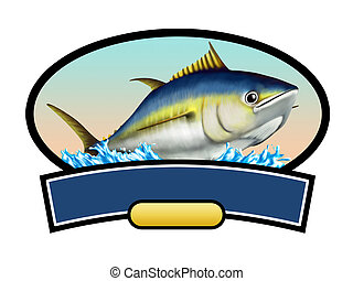 Tuna fish label, copy space available to insert your text. ...