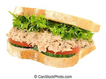 Tuna Fish Sandwich - Tuna and salad filled sandwich in thick...