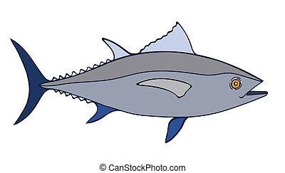 Tuna Fish Sketch Illustration, a hand drawn vector doodle...