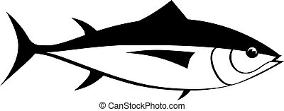 tuna fish vector silhouette isolated on white