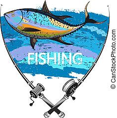 Tuna fishing symbol - Fishing tuna and two fishing rods...