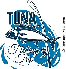Tuna fishing trip sign for sporting design