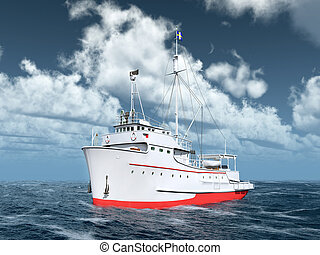 Tuna fishing vessel - Computer generated 3D illustration...