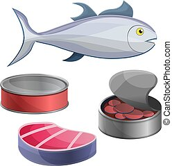 Tuna icon set, cartoon style