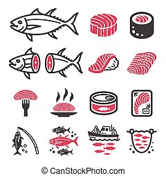tuna icon set