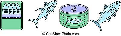Tuna icon set line color vector