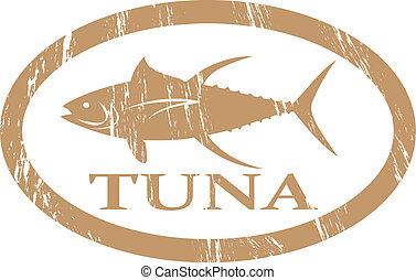 Tuna. - Tuna in grunge stamp effect.