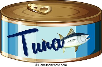Tuna in aluminum can illustration