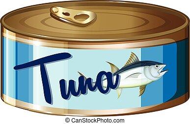 Tuna in aluminum can illustration