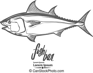 tuna logo fish - fish logo template, simple illustration,...