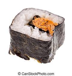 Tuna maki sushi - a delicious maki sushi isolated over a ...
