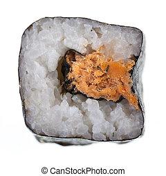 Tuna maki sushi top - a delicious maki sushi isolated over a...