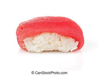 Tuna maki - Traditional japanese tuna maki isolated on white...