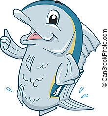 Tuna Mascot - Mascot Illustration Featuring a Tuna Giving a...