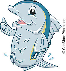 Tuna Mascot - Mascot Illustration Featuring a Tuna Giving a...