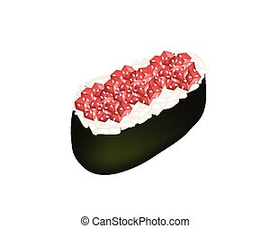 Tuna Nigiri or Tuna Sushi on White Background