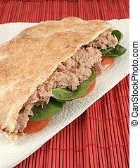 tuna pita - tuna with spinach and tomato in a whole wheat...